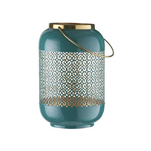Butlers Emilie Laterne H?he 27cm in Beere und Gold - Orientalisches Windlicht aus Metall mit Ornamenten - Kerzenlaterne