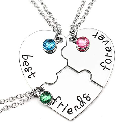 Bff Best Friends Forever 3 Necklace for Women Girl Friendship Gift Heart Puzzle Jewelry Initial Chain Necklaces Sisters Gifts (silver)