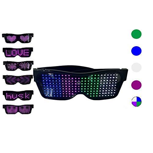 KEBEIXUAN LED Brille für Partybevorzugungen, anpassbare Bluetooth-LED-Blitzbrillen, wiederaufladbare USB-LED-Brillen für Raves, Nachtclubs, Musikfestivals, Partyzubehör (Vierfarbig)