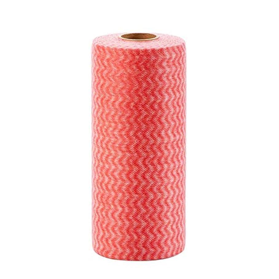 放射するあいまいなより良いZYZRYP 50個/ロール不織布キッチンクリーニングクロス使い捨てエコぼろワイピング精練パッドふきん浴室洗濯布 (色 : 赤, Specification : 50pcs)