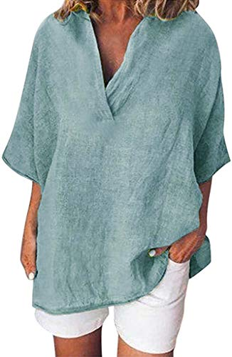 AitosuLa Damen Bluse Langarm V-Ausschnitt Bluse Casual Einfarbig Leinenbluse Lose Große Größen Hemd Blusen Shirts (B Türkis, L)