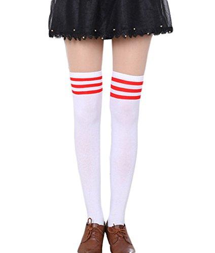 CHRISTYLE Damen Stripe Cosplay Schuluniform Leger über das Knie-Schenkel-hohe Lange Strümpfe Socken Einheitsgröße Weiß und Rot