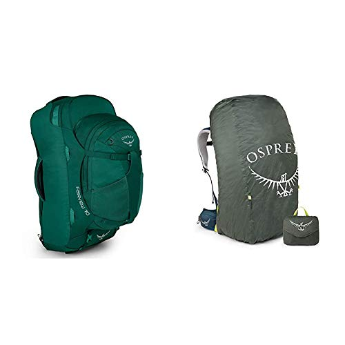 Osprey Fairview 70 Women's Travel Pack with 13L Detachable Daypack - Rainforest Green (WS/WM) & Ultralight Raincover for 50 - 75L Packs (L)