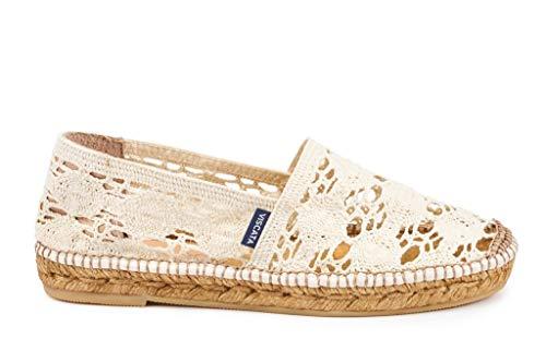 Viscata handgefertigt in Spanien Garraf Crochet Damen Flats Authentisch & Original, Weiá (Elfenbein), 36 EU