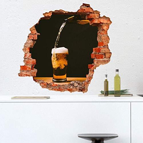 Steinoptik Wandtattoo Frisches Bier Wandsticker selbstklebend auf Tapete Bierflasche Wanddeko 60x57 cm