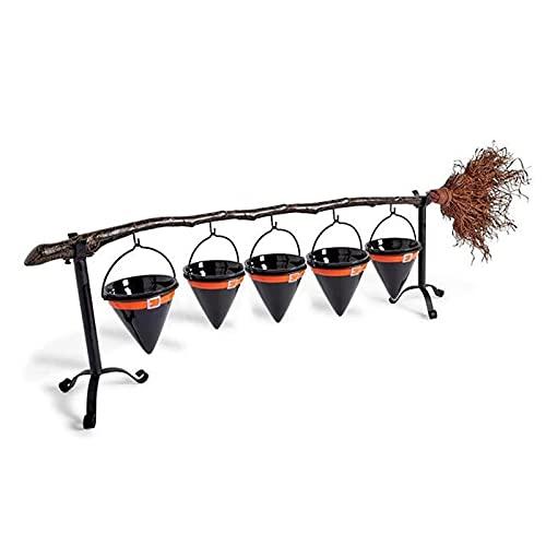 Ishine Broomstick Snack Bowl Stand con organizador de cesta extraíble, para Halloween, frutas, aperitivos, cuencos, etc. Cesta creativa para decoración de fiestas navideñas