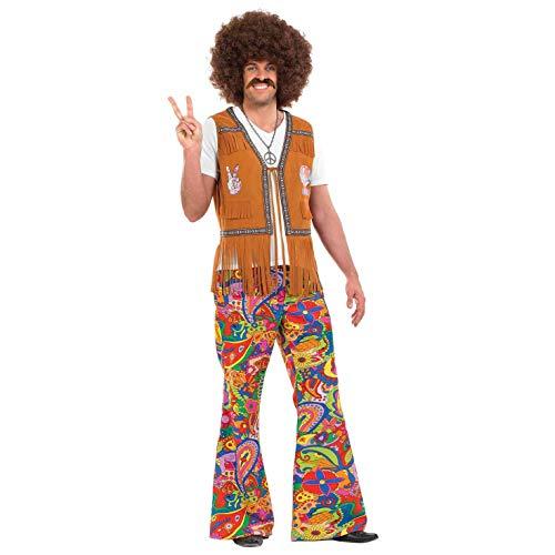 Fun Shack Bunte Hippie Schlaghose für Herren, 70er Jahre Kostüm - M
