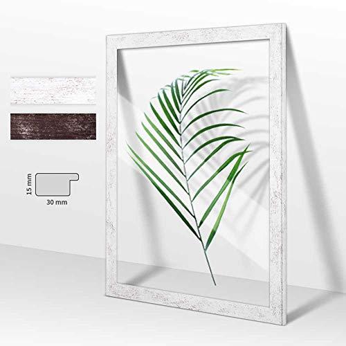 Doppelglas - Doppelverglasung Rahmen Doppelglasrahmen Bilderrahmen London in Holzoptik Weiß Vintage mit Acrylglas 15x21 cm DIN A5 wählbare Größen