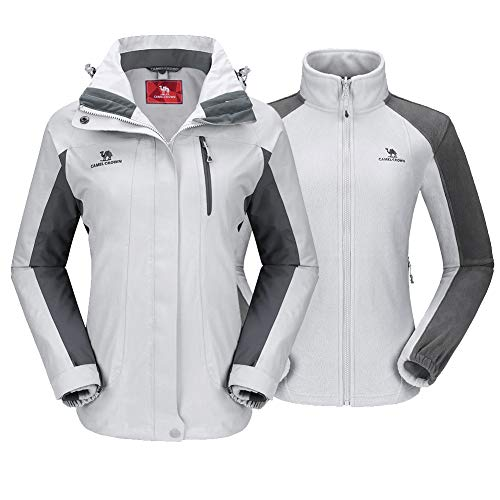 CAMEL CROWN Women's Ski Jacket Waterproof 3 in 1 Winter Jacket Windproof Warm Fleece Hooded Snowboard Mountain Snow Coat