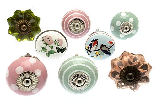 knoa, pomelli per cassetti e credenze in ceramica stile boheme vintage, confezione da 8