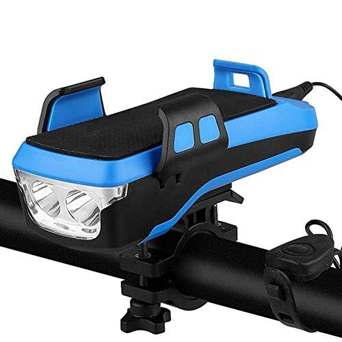DZX Luz de Bicicleta Multifuncional 4 en 1 LED 2400Mah USB Recargable Faro de Bicicleta Soporte de teléfono móvil bocina energía móvil