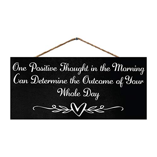 JennyGems One Positive Thought in The Morning Can Determine The Outcome of Your Entire Day | Inspirational Saying for Work | Farmhouse Home Decor | Made in USA