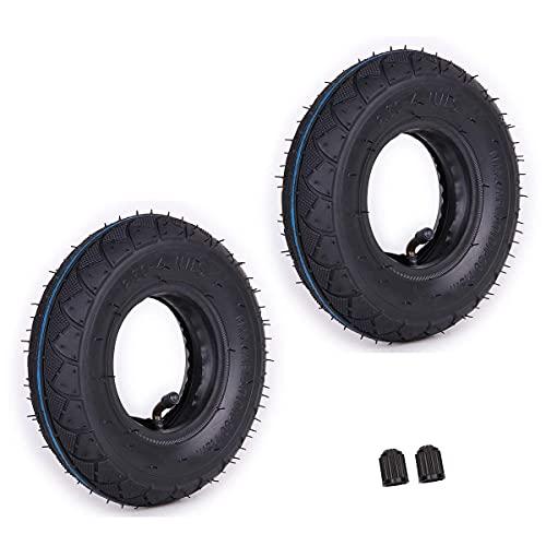 Neumáticos, juego de 2 neumáticos de 2.80 / 2.50-4 '8.5' + tubo interior con vástago de válvula doblada TR87 Reemplazo para carretilla de mano neumática (llena de aire) Carro de utilidad Cortacésped