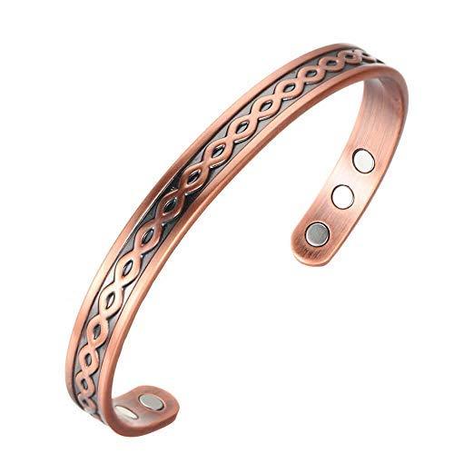 Pulsera de cobre para hombre y mujer, estilo vintage, magnética, de cobre