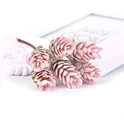 ERJQ Künstliche Blume, Lot Künstliche Blumen Ananas Gras Gefälschte Pflanze für Hochzeit Weihnachtsdekoration DIY Handwerk Wohnkultur Kranz Scrapbooking,Rosa