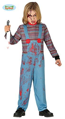Guirca - Disfraz Chuckie niño 10/12 años, Color Azul y Rojo, de 10 a 12, 87800