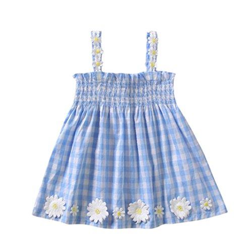 Fossen 1-4 años Bebe Niñas Vestidos de Cuadros - sin Mangas - con Flor del Sol Decoración - Verano Ropa