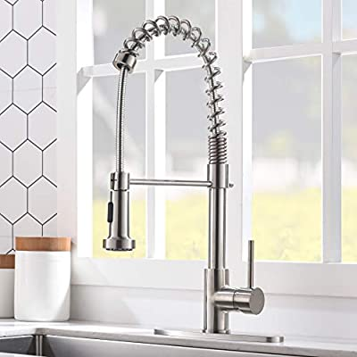 VCCUCINE Commercial High Arc Single Handle Stainless Steel Brushed Nickel Kitchen Faucet with Dual Function Pull Down Spray Head, Pull Out Kitchen Sink Faucets with Deck Plate