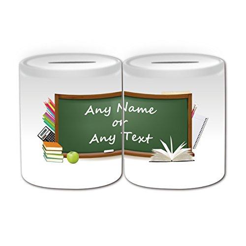UNIGIFT gepersonaliseerd geschenk - Greenboard Money Box (Academic Design Theme, wit) - Naam/boodschap op uw unieke - Spaar Piggy Bank - School College University