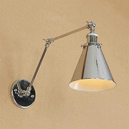 Lámparas de pared 1-ligero americano pueblo retro doble hierro cromo lámpara de pared ajustable creatividad increíble rocker swing ajustable e27 (Size : Arm Length:30cm+30cm)