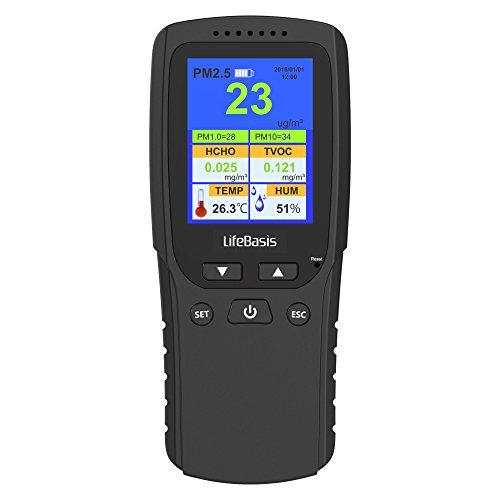 LifeBasis Formaldehyde messgerät Hydrometer Feuchtigkeit Temperatur Luftfeuchtigkeitsmesser Feinstaubmessgerät Digitales Detektor HCHO PM2.5 PM1.0 PM10 TVOC TEMP AQI Tester Thermo Hygrometer MEHRWEG