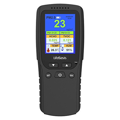 Misuratore della qualità dell'aria LifeBasis Rilevatore di Formaldeide Test Accurato HCHO/TVOC/ PM2.5 / PM10 Tester di precisione, per Utilizzo in Casa, Auto, Esterni
