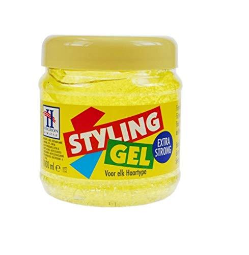 3 x Hegron Styling Gel - Extra Strong - Gel für alle Haartypen - 1000 ml
