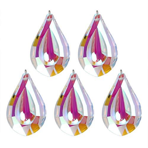 HEALLILY 5 Piezas Lámpara de Lágrima de Cristal Transparente Prisma Colgante de Cristal Colgantes de Cristal Cuentas para Boda Lámpara de Techo Lámpara Colgante de Iluminación