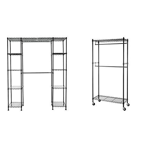 "AmazonBasics Double Hanging Rod Garment Rolling Closet Organizer Rack, Black & Expandable Metal Hanging Storage Organizer Rack Wardrobe with Shelves, 14""-63"" x 58""-72"", Black"