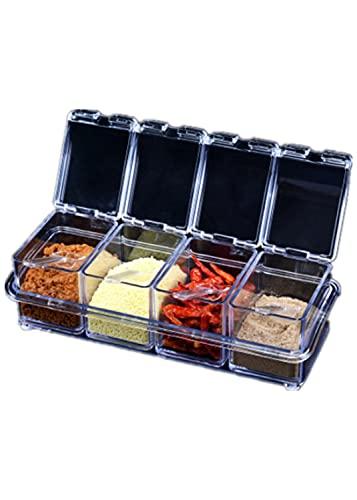 miaoyu Contenedores de almacenamiento de especias 4 unids/set Cocina Especias tarro de plástico transparente condimento cajas sal pimienta condimento latas