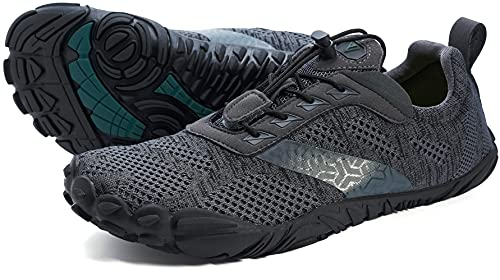 WHITIN Zapatilla Minimalista de Barefoot Trail Running para Hombre Five Fingers Fivefingers Zapato Descalzo Correr Deportivas Fitness Gimnasio Calzado Gris Negro 42 EU