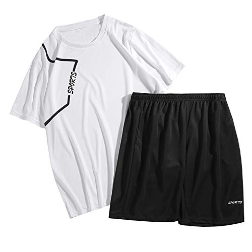 Men Casual Sets Summer Jogger Trainingspak Two Piece T Shirts + Shorts Mannen Sportswear Slim Fit Sports Suit Quick Dry,White,XXL