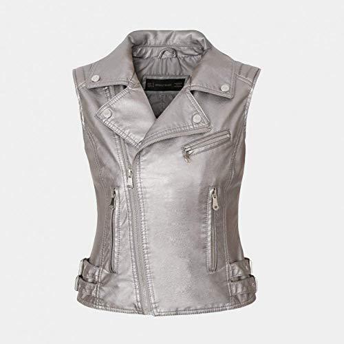 Chaquetas de piel sintética para mujer, sin mangas, cuello vuelto, cinturón con cremallera, chaleco, chaleco, chaleco de calle, es un regalo para mujeres, plata caliente, M