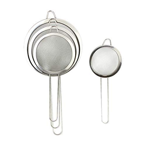 vosarea 4pcs Passoires mallas finas de cocina en acero inoxidable tamiz de mano 8cm 12cm 16cm 22cm