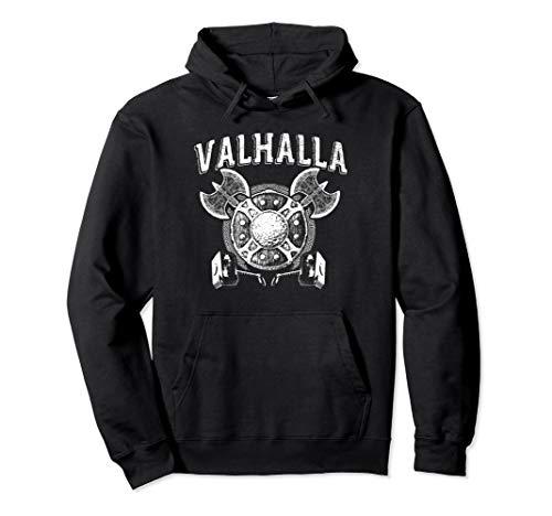 Wikinger Valhalla mit Axt und Schild Pullover Hoodie