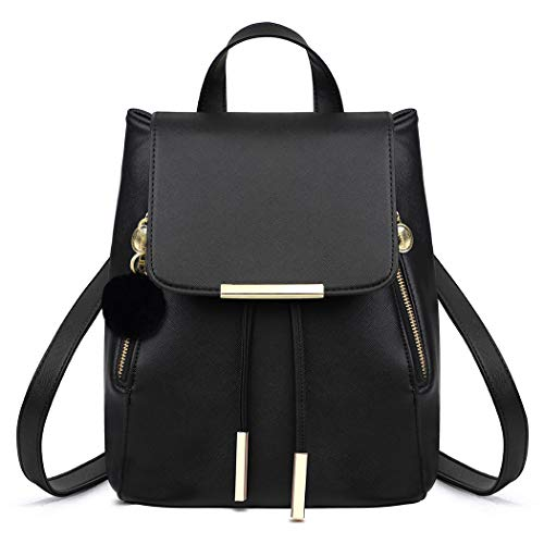 Leather Backpack Women, COOFIT Ladies Backpack Women Rucksack Black Leather Backpack for Women Black Girls Backpack Faux Leather Travel Bag Schoolbags (Black Pendant)