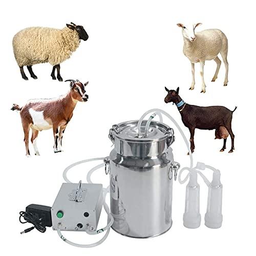 joyvio Máquina de ordeño para cabras, vacas, bomba de vacío de pulsación, suministros de ordeño con cubeta de acero inoxidable, máquina de succión portátil para jerseys, enanos nigerianos, mezcla nubi