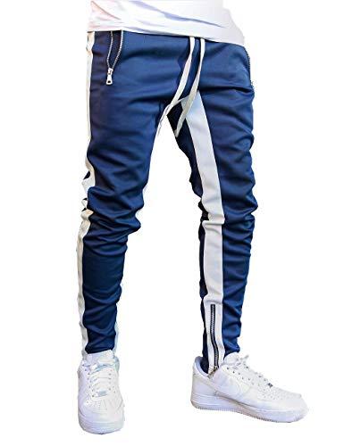 FLYFIREFLY Men's Gym Sport Pants Hip Hop Slim Fit Track Pants Workout Running Athletic Jogger Bottom Blue