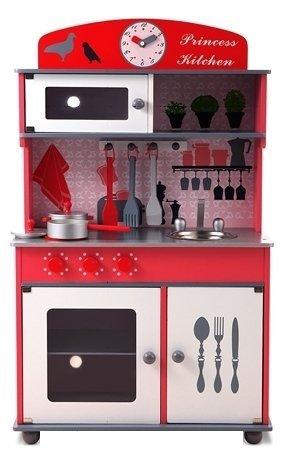 Best For Kids Kinderküche Spielküche W10C026 rot aus Holz mit Zubehör Super Qualität aus MDF Platte