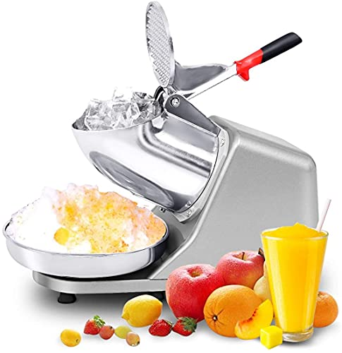 GYMAX Electric Ice Crusher, 1450r/m Crushed Ice Machine Snow Cone Maker, 65kg/Hour Stainless Steel Ice Shaver for Home and Commercial