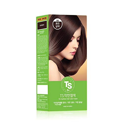TS Chakhan Hair Color Cream   Permanent Hair Color Cream  PPD Free, Ammonia Free Hair Dye  100% Gray Coverage   Medium Reddish Brown (#6R Red Brown)   Pack of 1