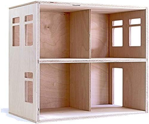 Puppenvilla Puppenhaus aus Holz 2 Etagen Moderne Puppenstube, Holzspielzeug