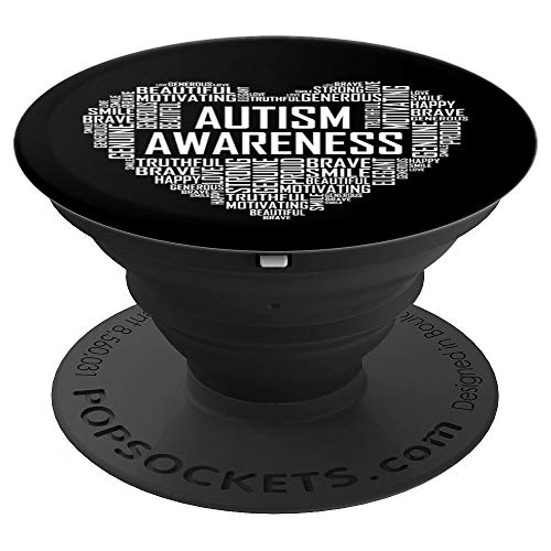 Autism Awareness Gift Heart Proud Support Month Gifts PopSockets Grip and Stand for Phones and Tablets