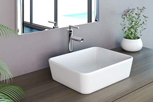 Design Aufsatzwaschbecken Handwaschbecken Waschbecken WC 390 * 390 * 140 mm in weiß, mit Lotus Effekt von Art-of-Baan Anubis