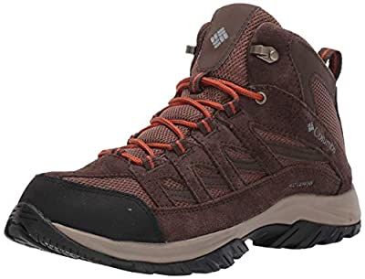 Columbia Men's Crestwood Mid Waterproof Hiking Boot Shoe, Dark Brown/Dark Adobe, 12