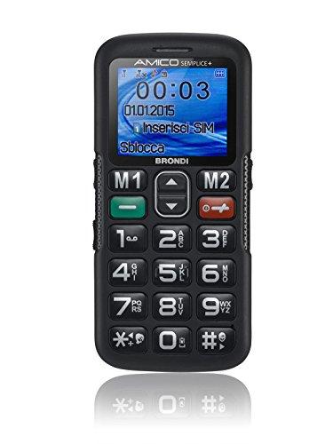 Brondi Amico Semplice + Telefono Cellulare Dual SIM, Tasto SOS, Nero