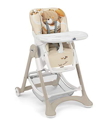 CAM Hochstuhl CAMPIONE   Baby-Stuhl mitwachsend & vielseitig verstellbar inkl. Tablett   Abwaschbares Kissen   Weiche Polsterung & verstellbarer Gurt   Kinder-Hochsitz - Made in Italy (Bärchen)