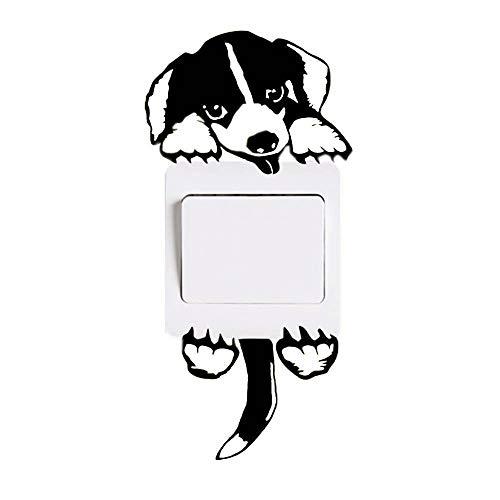 ZACMSE Wandschalter Aufkleber, Katze Hund Lichtschalter Aufkleber Lustige Tier Wandtattoos für Schlafzimmer Wohnzimmer Schwarz
