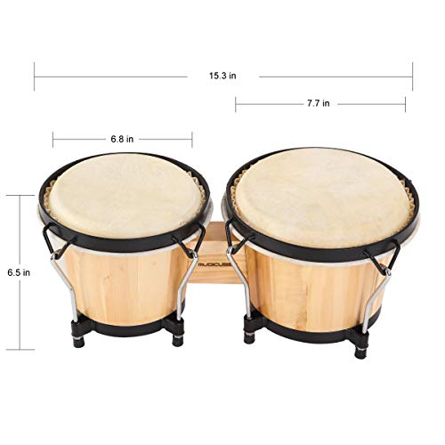 """MUSICUBE Bongo Drum Set, 6"""" and 7"""" Percussion Instrument, Wooden and Metal Drum for Adult Kids Beginners Professionals with Tuning Wrench"""