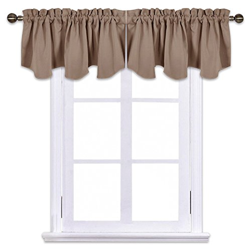 NICETOWN Blackout Valance Tiers for Bedroom - 52 inches by 18 inches Scalloped Pole Pocket Kitchen/Bathroom Window Curtains and Tier Draperies, Cappuccino (2-Packs)